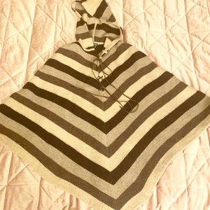 RALPH LAUREN 100% Wool Brown Striped Hooded Poncho